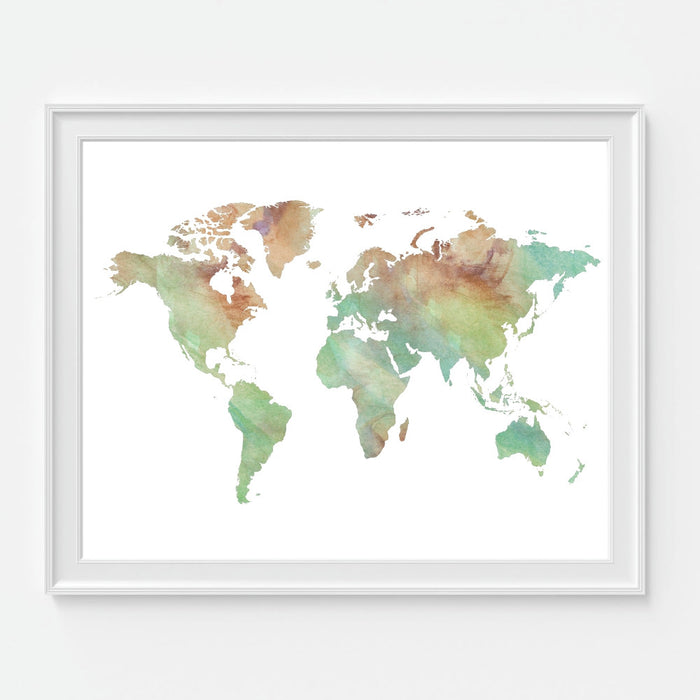 Earthtone Watercolor World Map Gallery Art