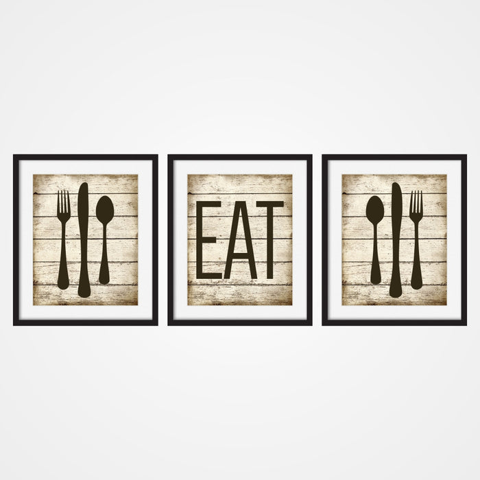 Rustic Eat Wall Art with Silverware