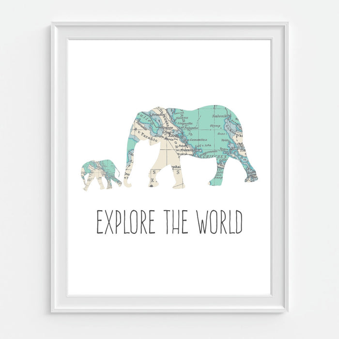 Explore The World Elephant Wall Art