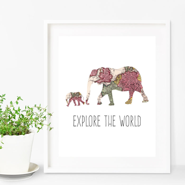 Elphant and Baby Explore The World Wall Art