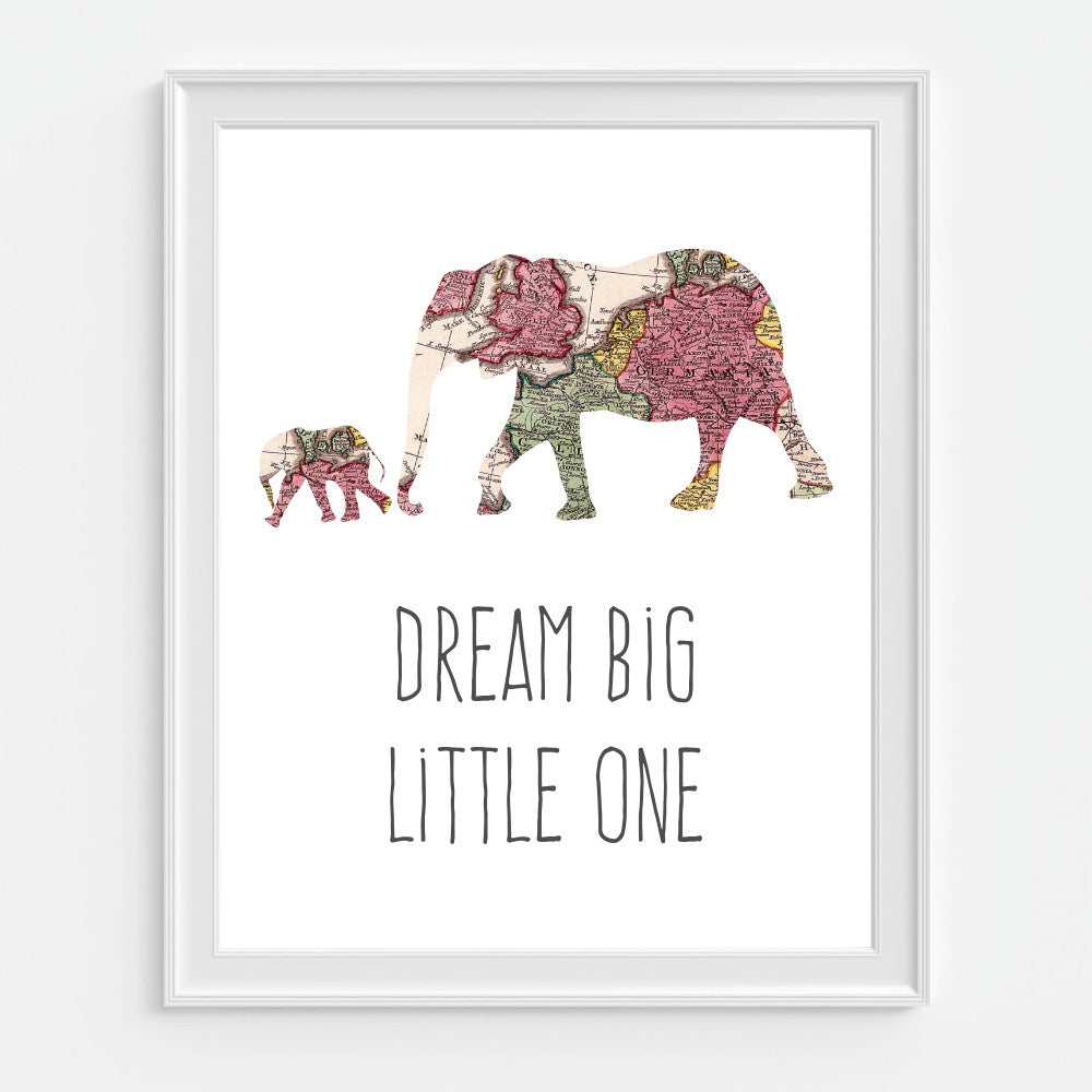 Dream Big Elephant and Baby Wall Art