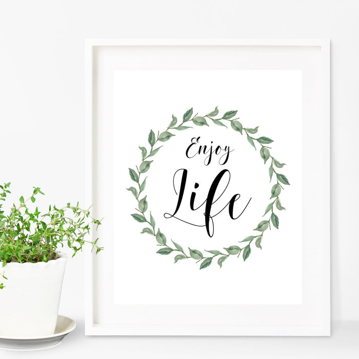 Enjoy Life Wall Art with Wreath