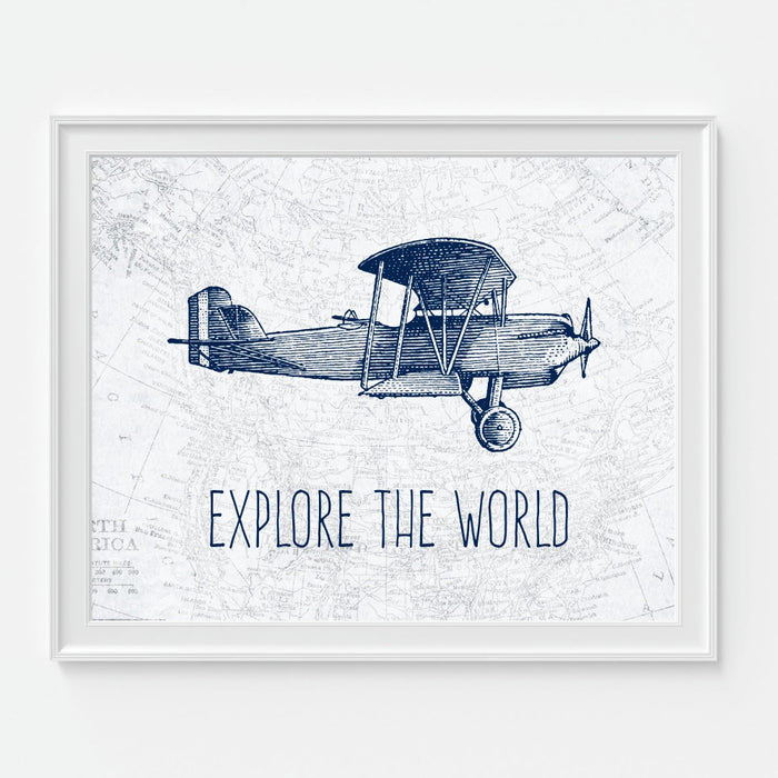 Explore The World Airplane Wall Art