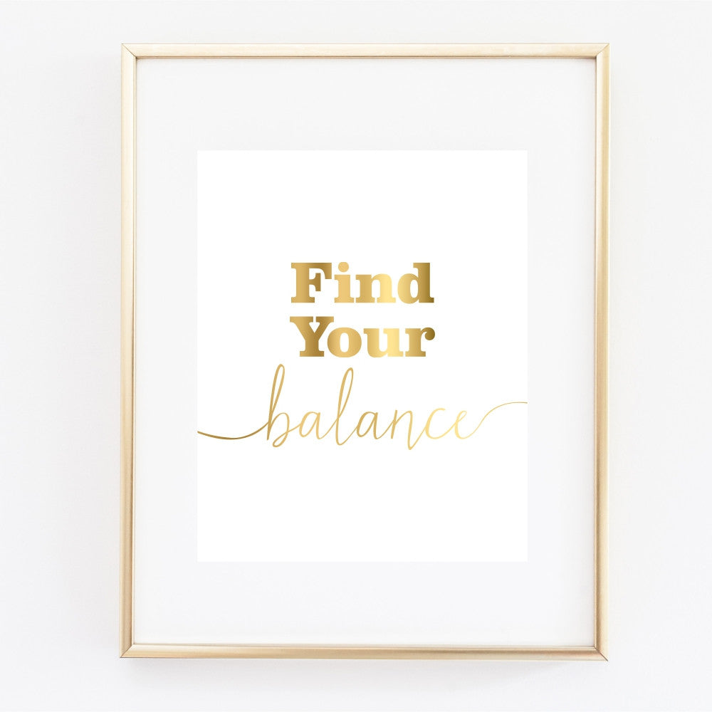 Find Your Balance Gold Wall Art
