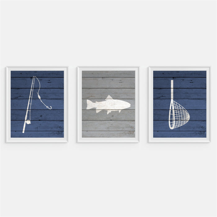 Fishing Wall Art in blue and gray Fish Net Fishing Pole