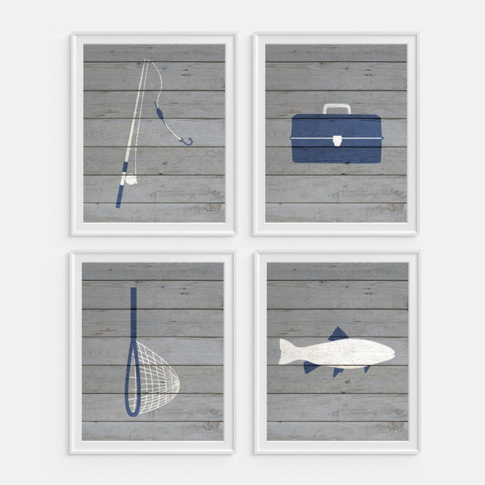 Fishing Art Prints includes fishing pole, tackle box, fishing net and fish
