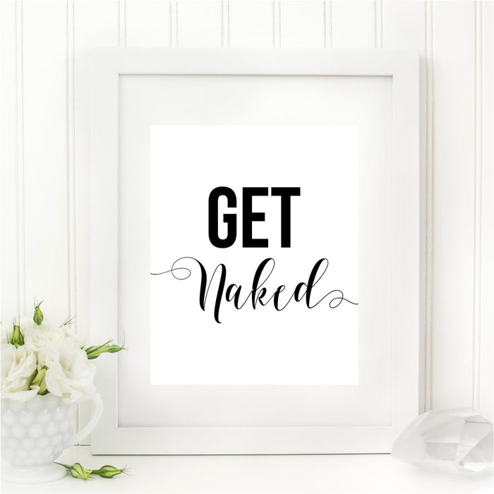 Get Naked Funny Bathroom Wall Art