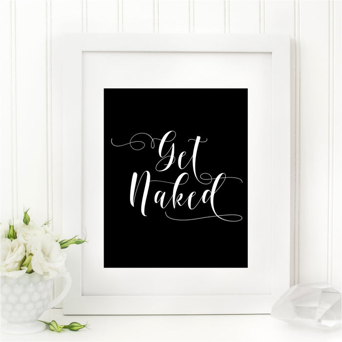 Get Naked Black and White Bathroom Wall Art