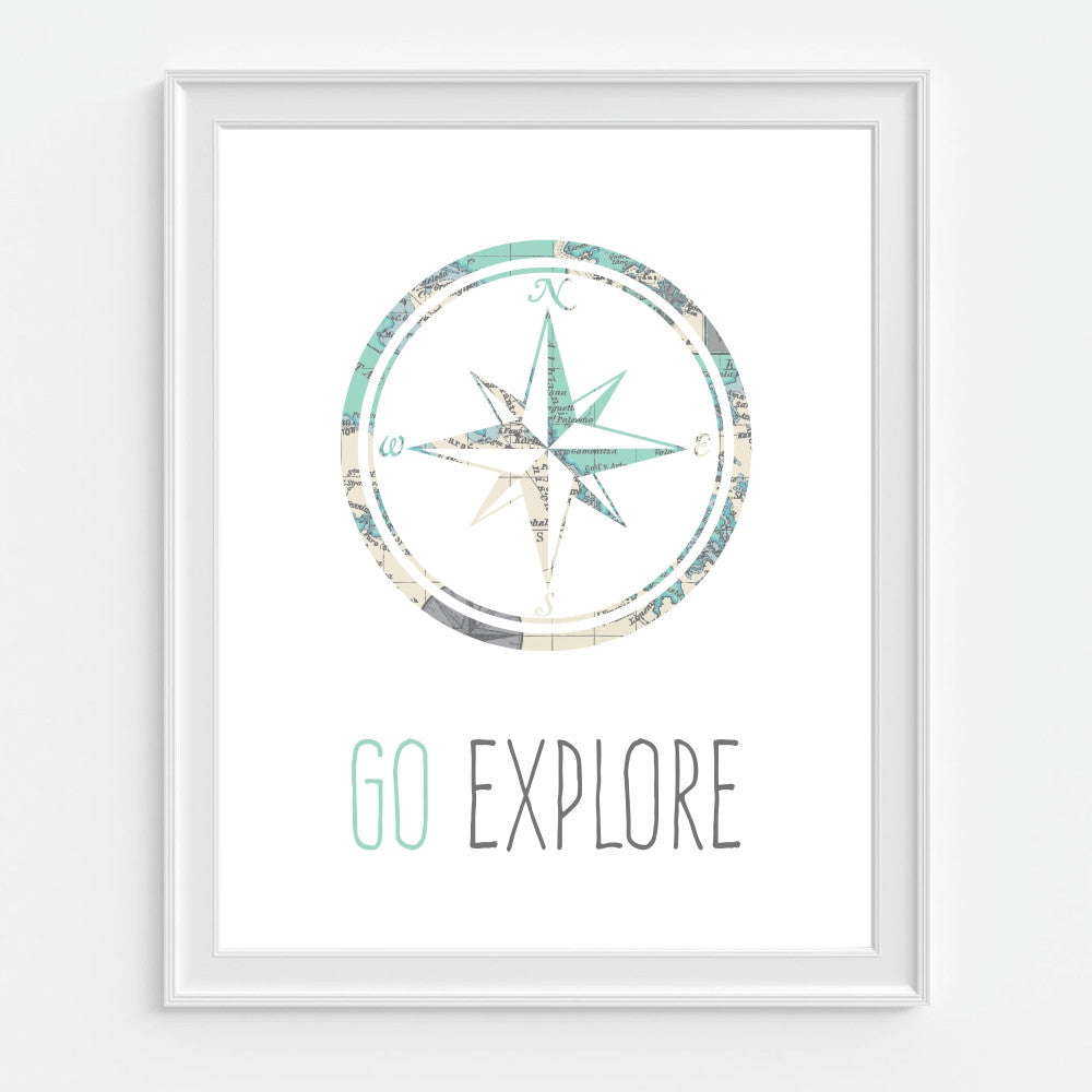 Children's Wall Art Compass Go Explore