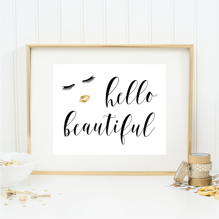 Gold Hello Beautiful Wall Art