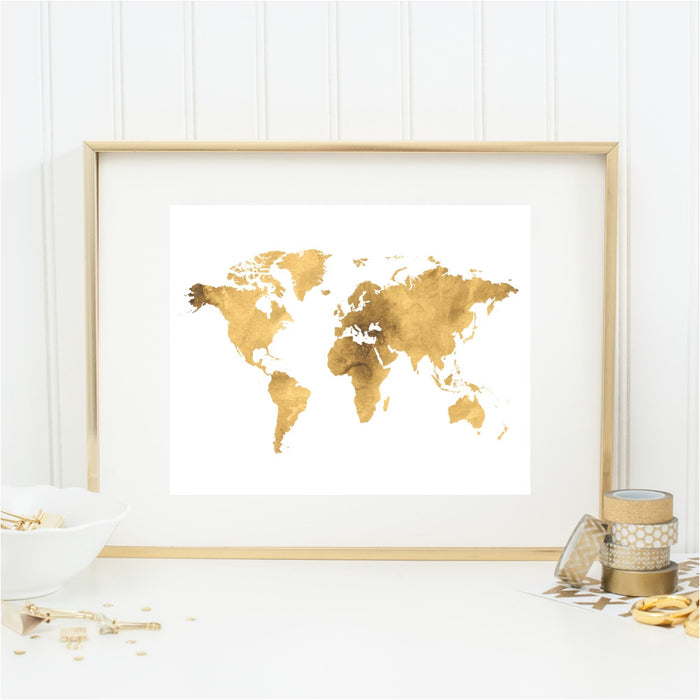 Gold Tone World Map Art