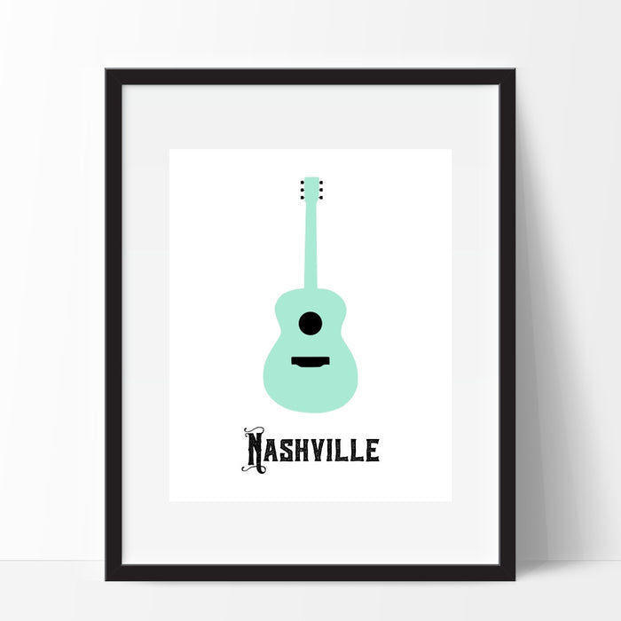 Nashville Tennessee Teal Guitar Wall Art