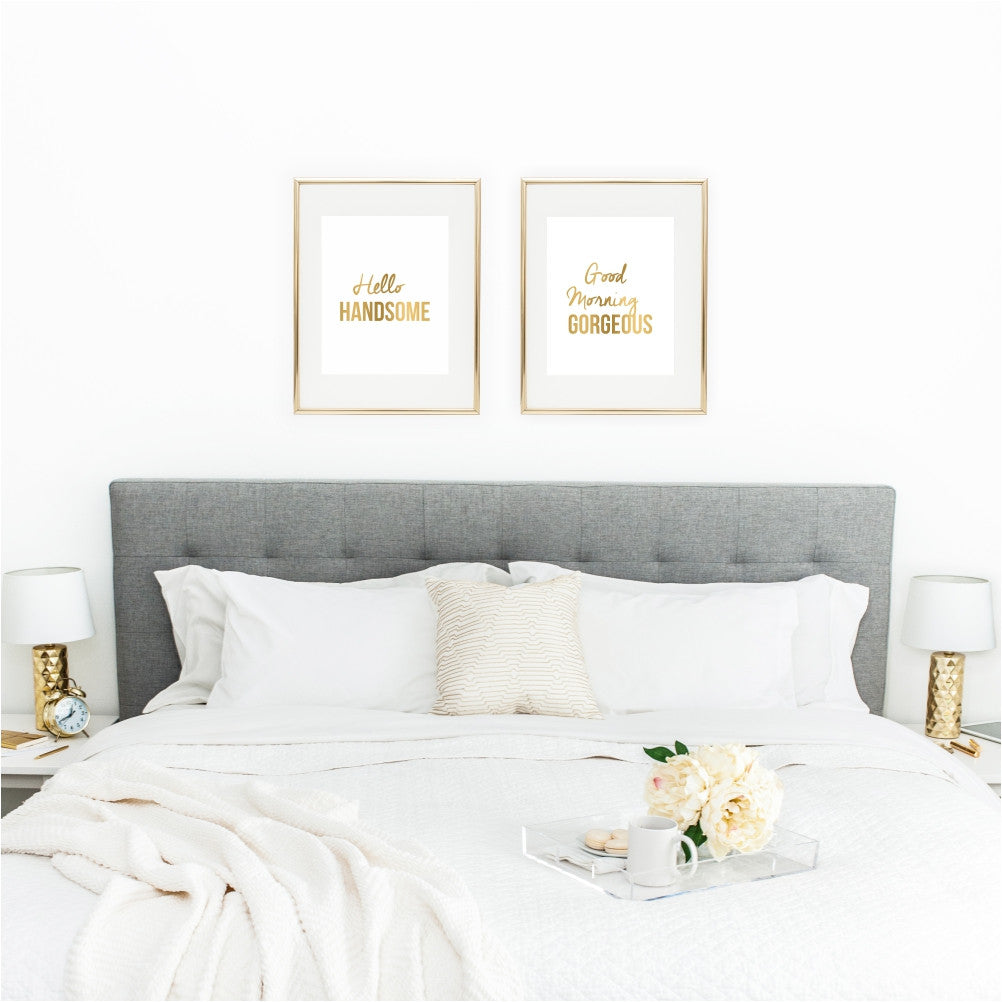 Hello Handsome and Good Morning Gorgeous Set of Two Wall Art