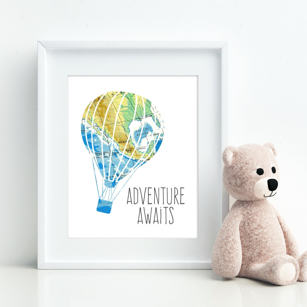 Hot Air Balloon Map Art Print