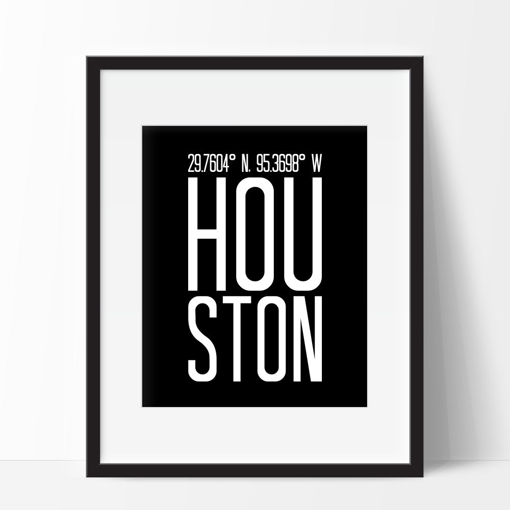 Coordinates of Houston Texas Wall Art