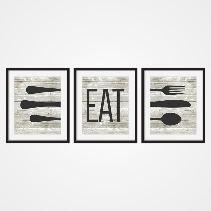 Eat Rustic Wall Art with eating utensils