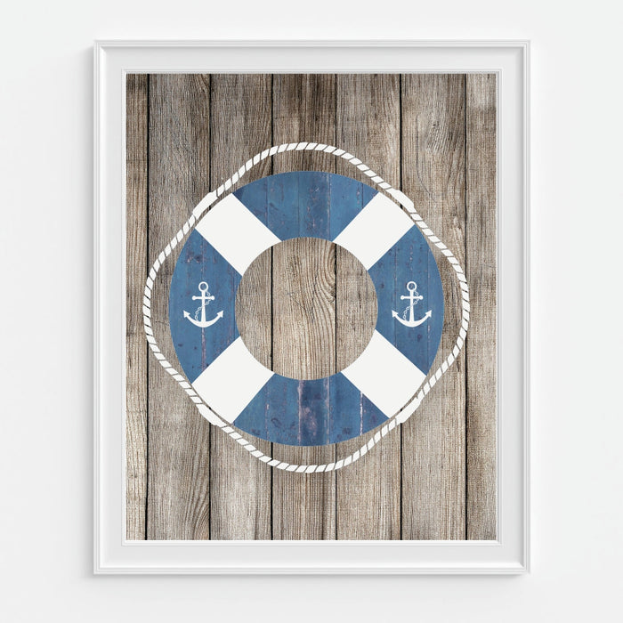 Buoy Wall Art on a Wood Background