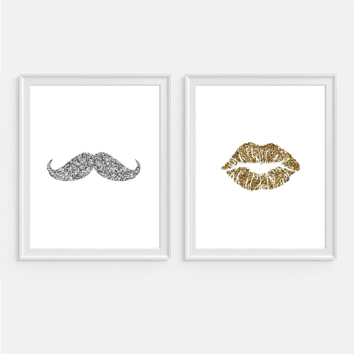 Glitter Mustache and Lips Bathroom Wall Art