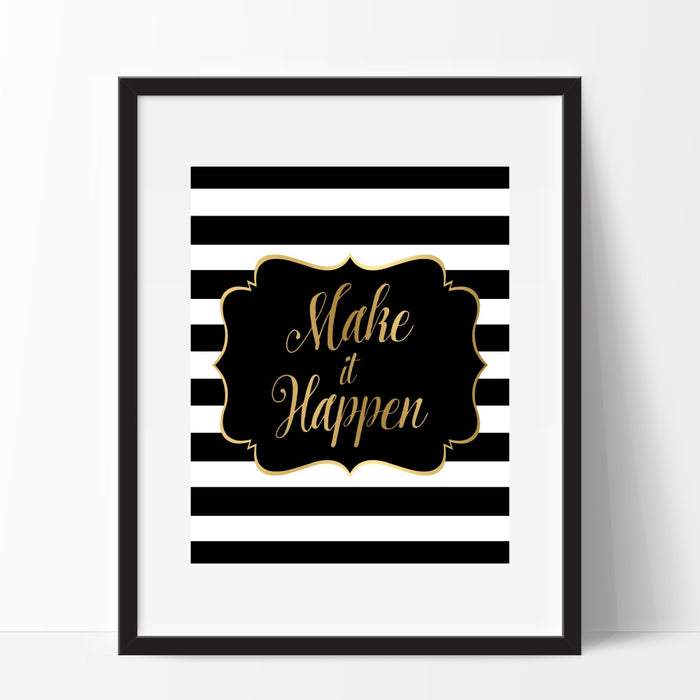 Make It Happen Black and White Stripe Wall Art
