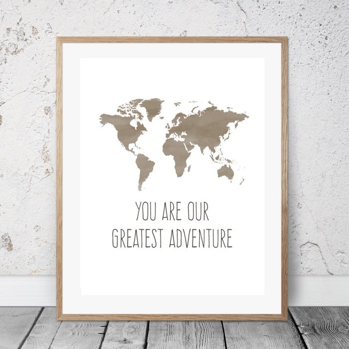 World Map Art You Are Our Greatest Adventure