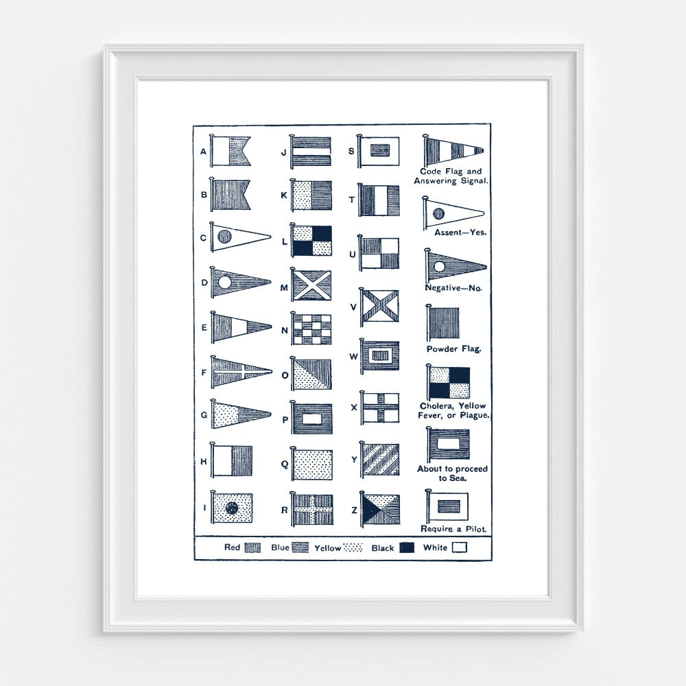 Nautical Flags Art Print. Guide To Maritime Flags
