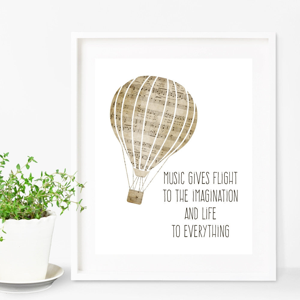 Music Gives Flight to the Imagination and Life To Everything Plato Hot Air Balloon Wall Art