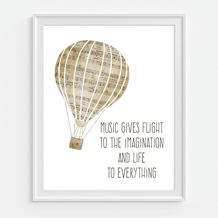 Hot Air Balloon Art Print with Plato Quote Music Gives Flight to the Imagination and Life To Everything