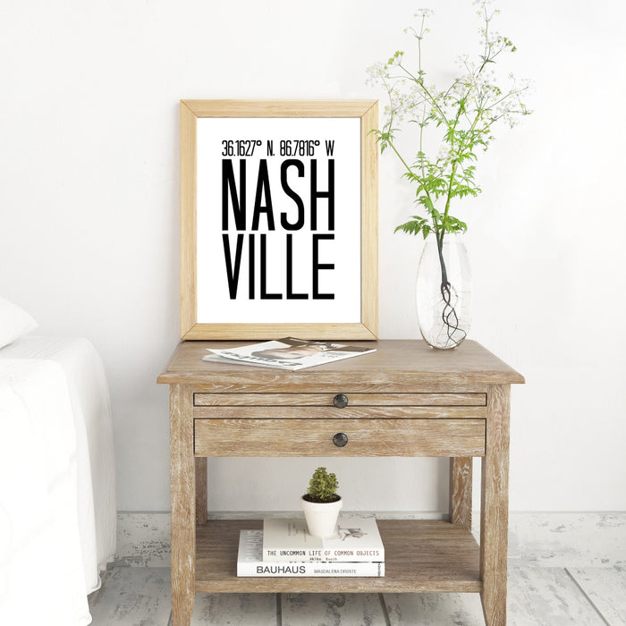Coordinates Wall Art of Nashville Tennessee
