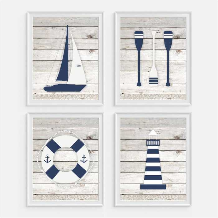 Nautical Wall Art Boat Oars Life Saver Light House