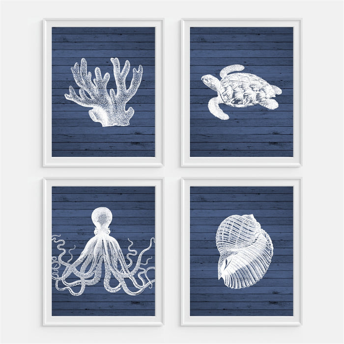 Nautical Beach Collection Wall Art Coral Sea Turtle Octopus Seashell