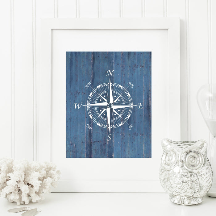 Nautical Compass Wall Art in Blue