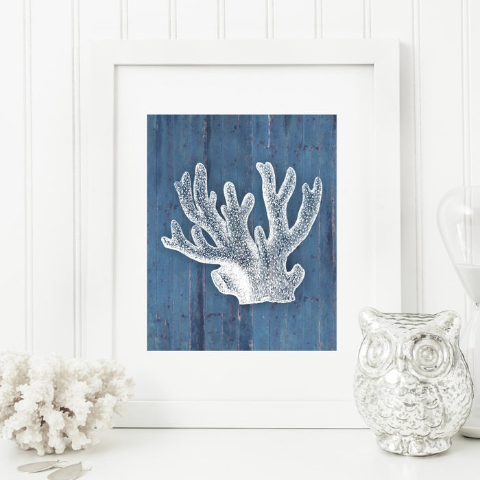 Coral Art Print in Blue