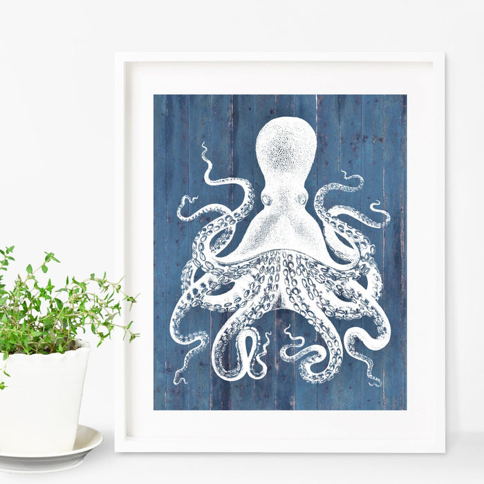 Octopus Art Blue Background