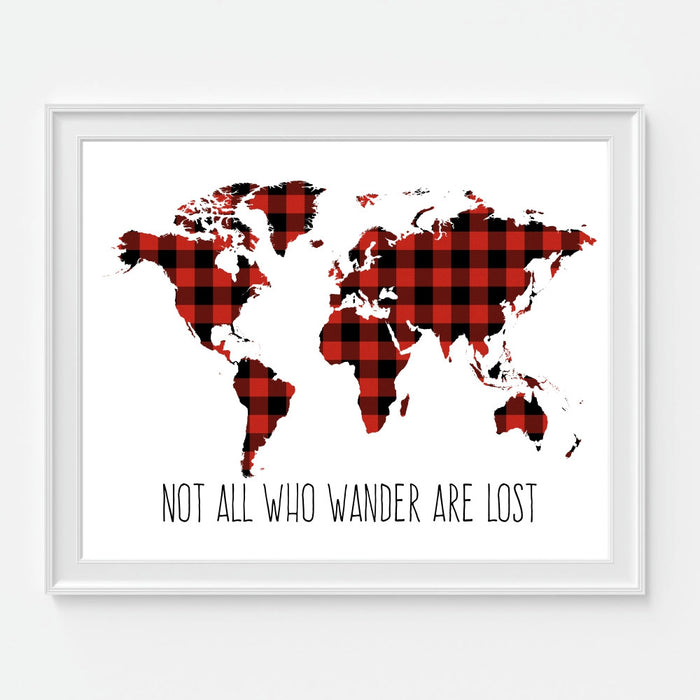 Not All Who Wander Are Lost World Map Red and Black Plaid