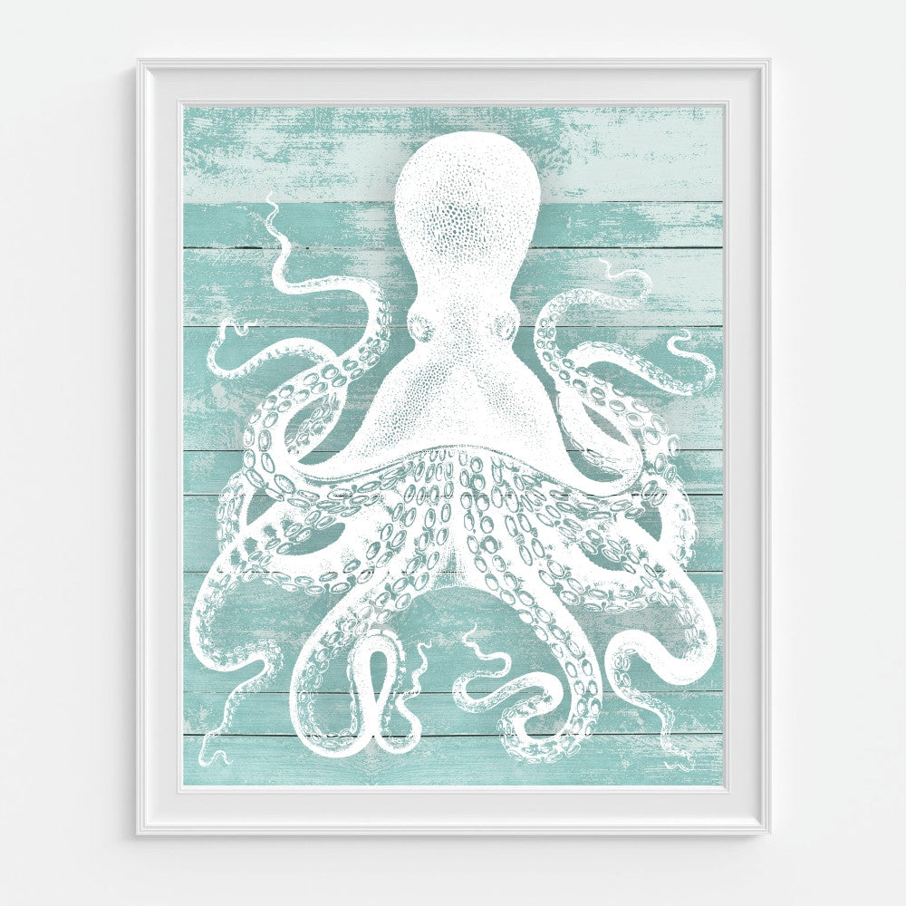 Octopus Wall Art Teal White