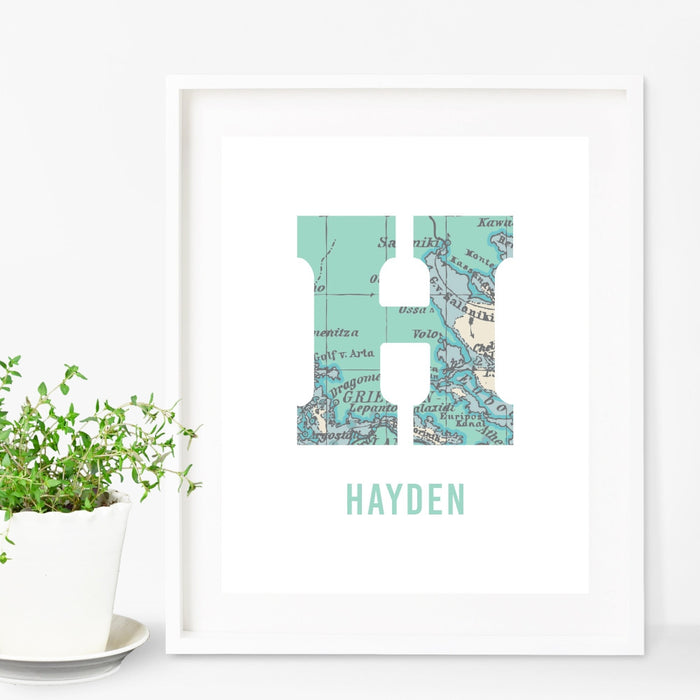 Personalized Childrens Initial Wall Art World Map