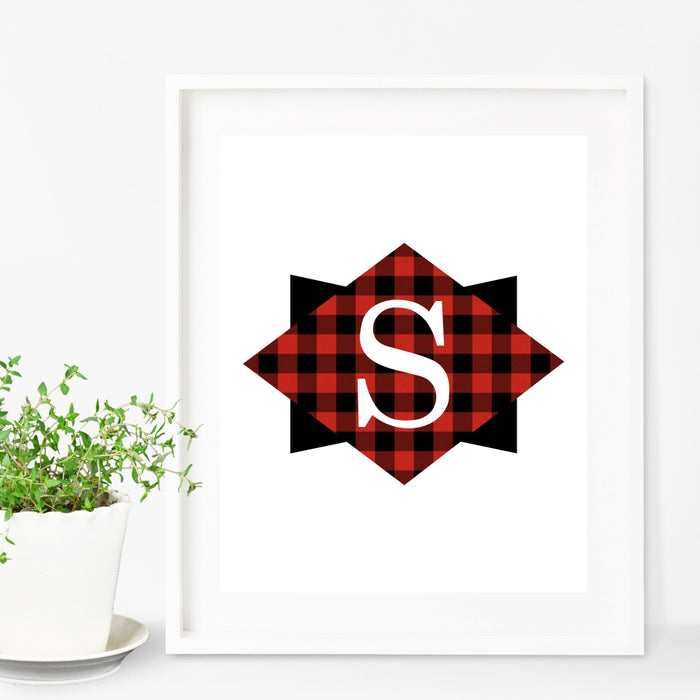 Personalized Woodland Plaid Initial Wall Art