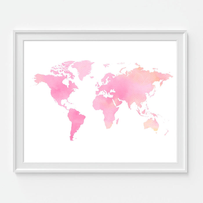 Pink Watercolor World Map