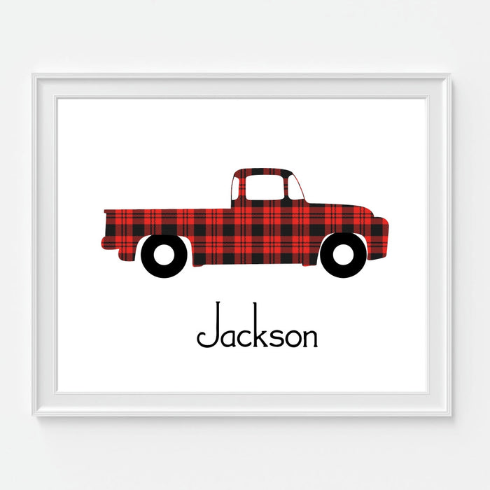 Personalized Plaid Truck Wall Art Childrens Rustic Decor