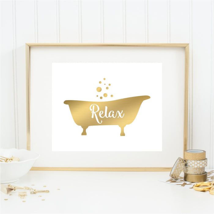 Relax Gold Tub Wall Art
