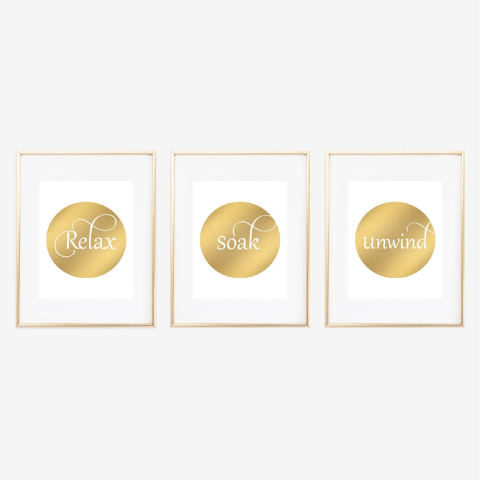 Relax Soak Unwind Gold Wall Art