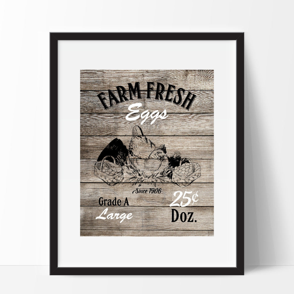 Rustic Kitchen Art Farm Fresh Eggs Picturality