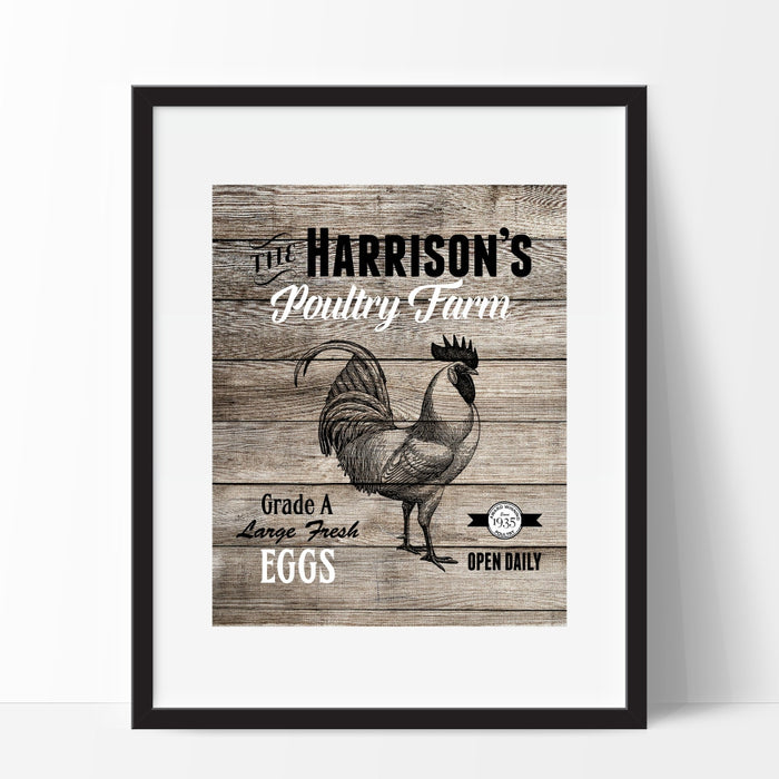 Personalized Rustic Kitchen Art - Poultry Farm