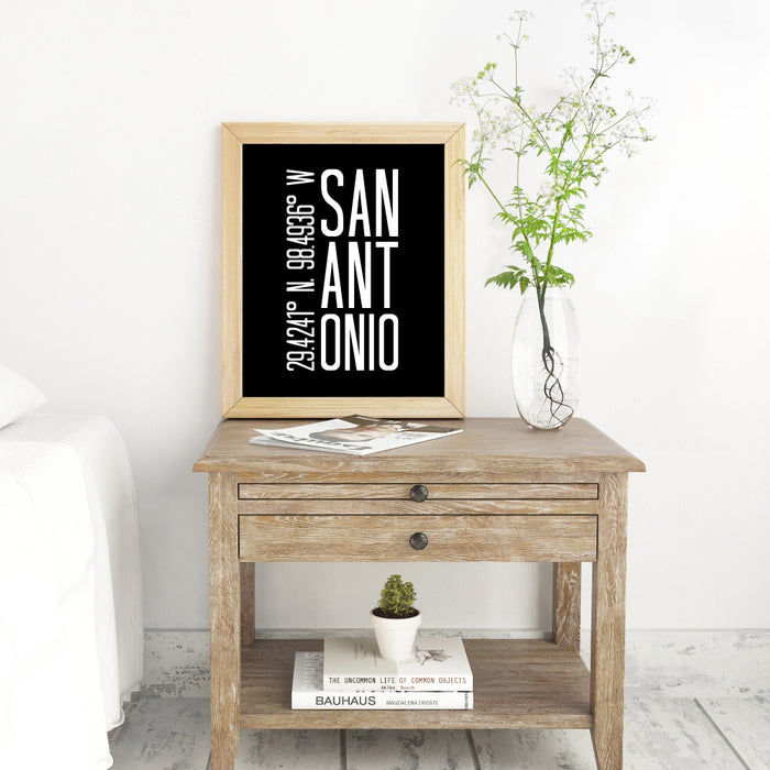 Coordinates Wall Art of San Antonio Texas
