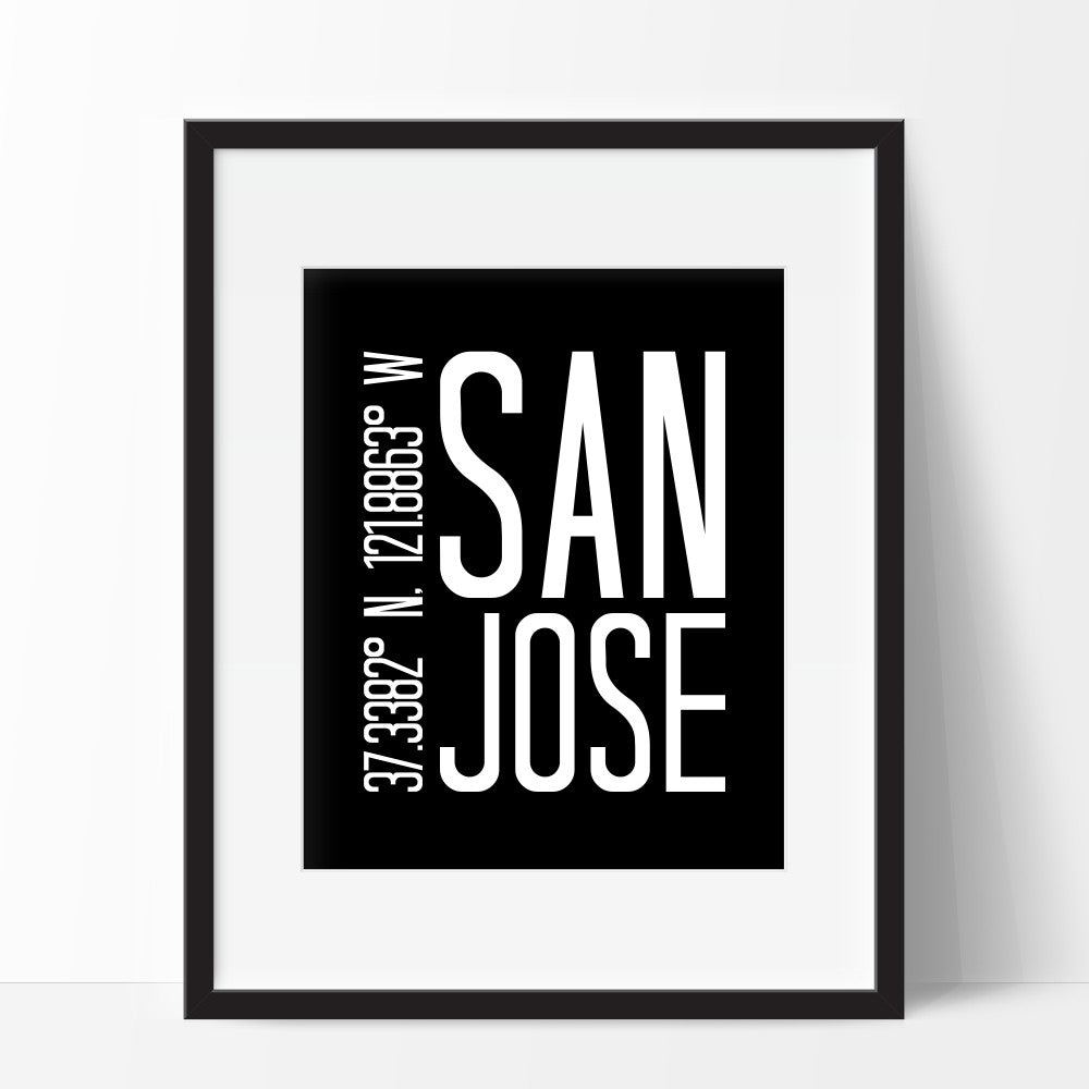 Art Print of Coordinates of San Jose California