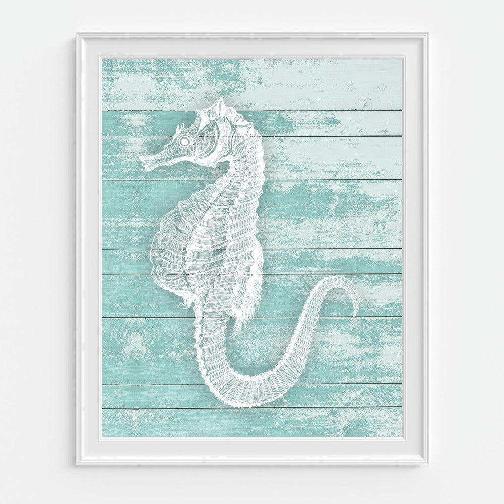 Seahorse Wall Art on a Teal Wood Background