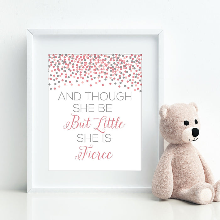 Though She Be But Little She Is Fierce Wall Art Shakespeare Quote Children's Art