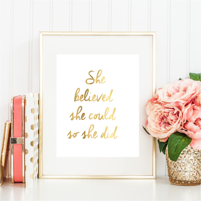 She Believed She Could So She Did Gold Wall Art