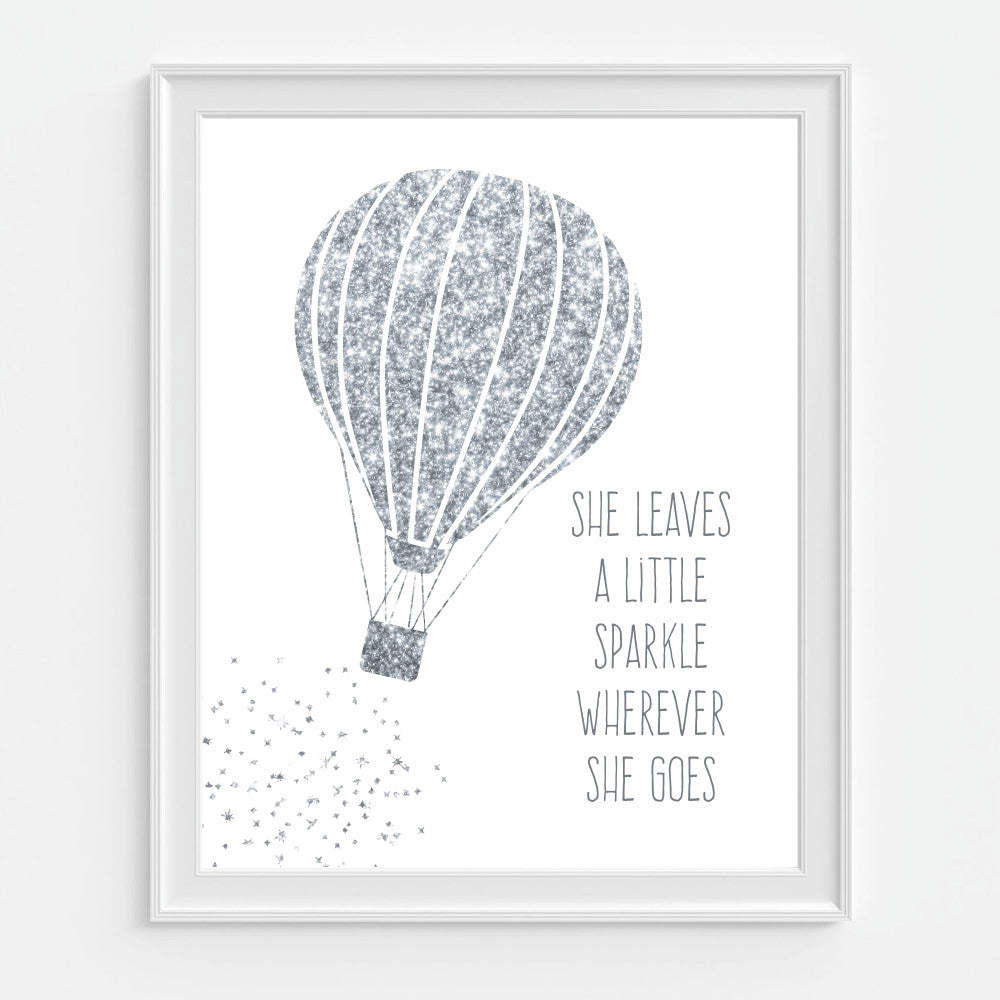 Silver Glitter Hot Air Balloon Wall Art. She Leaves A Little Sparkle Wherever She Goes