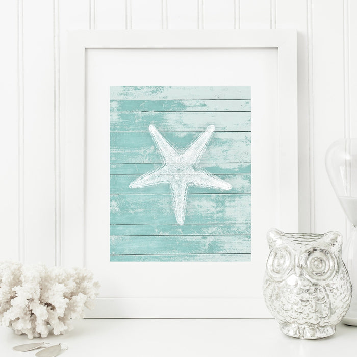 Starfish Wall Art Teal Background